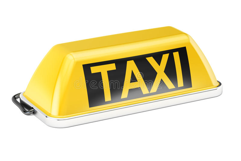 Yellow taxi car signboard, 3D rendering. On white background vector illustration