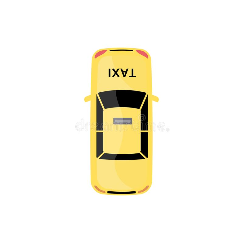 Yellow taxi car top view isolated on white background. Cartoon cab automobile seen from above drawn in flat modern style, colorful vector illustration royalty free illustration