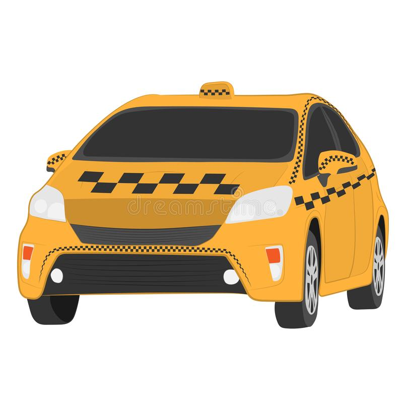 Yellow taxi car vector drawing illustration royalty free stock photography