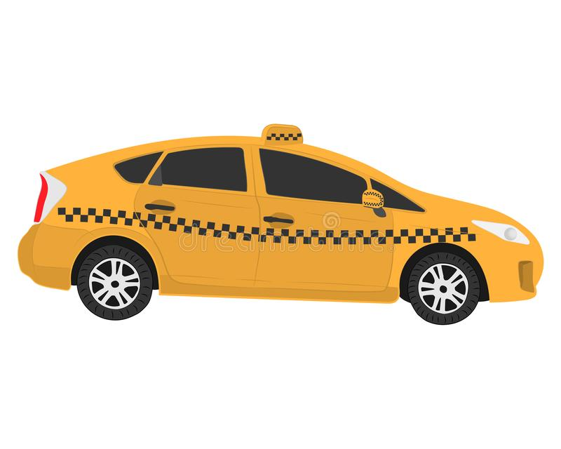 Yellow taxi car vector drawing illustration stock photography