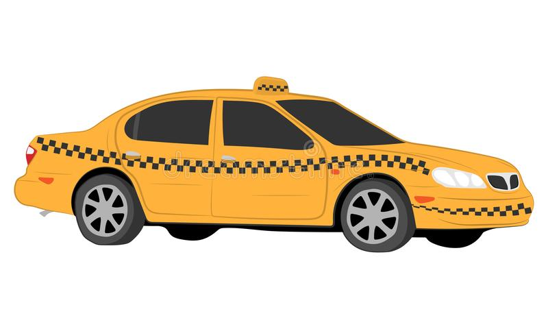 Yellow taxi car vector drawing illustration stock photo