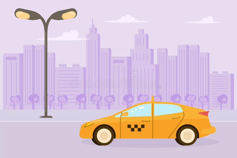 Yellow taxi car. Isolated on city background in flat design. Vector illustration eps 10 vector illustration