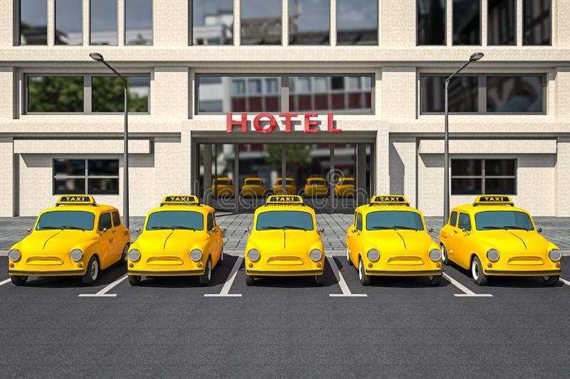 Yellow taxi cars royalty free illustration