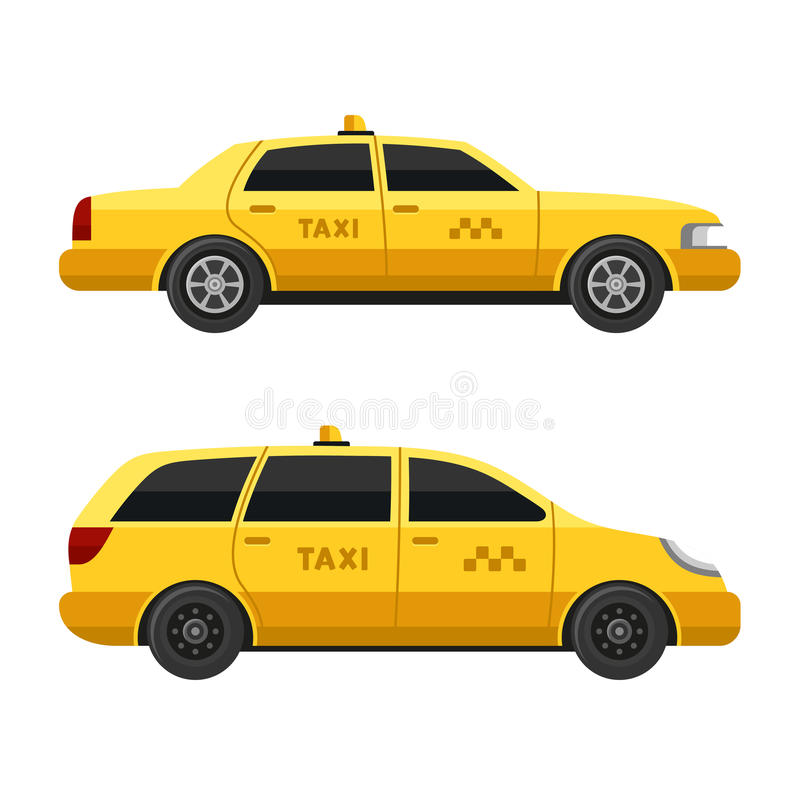 Yellow Taxi Cars Set on White Background. Vector stock illustration