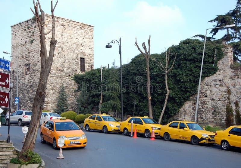 Yellow taxi in Istanbul. ISTANBUL, TURKEY - JAN 15, 2011 - Yellow Taxi in Istanbul, Turkey stock photo
