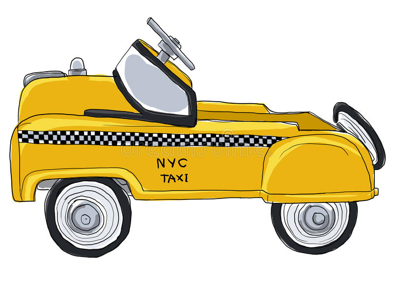 Yellow taxi new york city vintage toys stock illustration