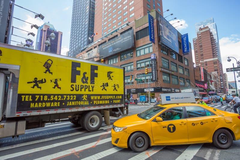 Yellow Taxi in New York City stock photos