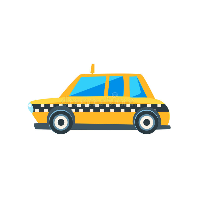 Yellow Taxi Toy Cute Car Icon. Flat Vector Transport Model Simple Illustration On White Background royalty free illustration