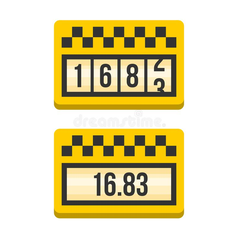 Yellow Taximeter Icon Set. Flat Style Vector royalty free illustration