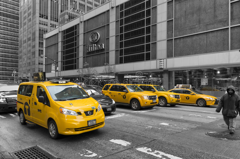 Yellow taxis in manhattan royalty free stock photography