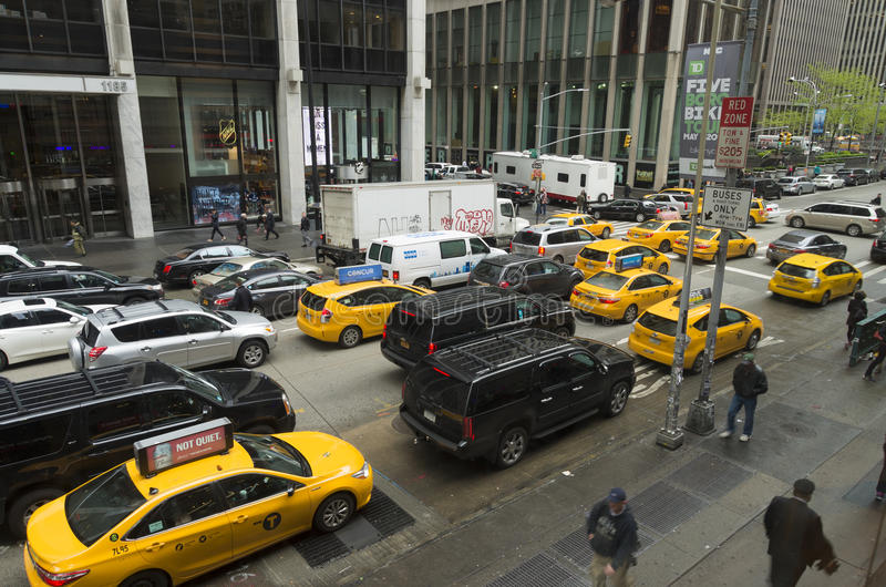 Yellow taxis in manhattan royalty free stock images