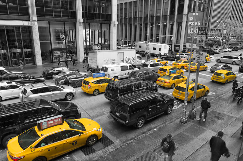 Yellow taxis in manhattan royalty free stock photos