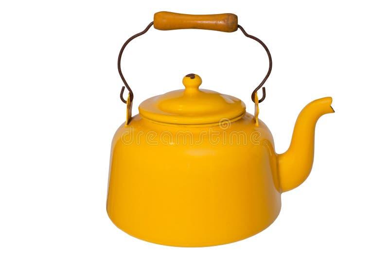 Yellow Tea Pot. Yellow kettle isolated on white stock image