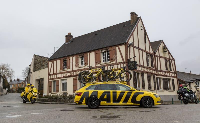 Yellow Technical Vehicles - Paris-Nice 2018 stock image