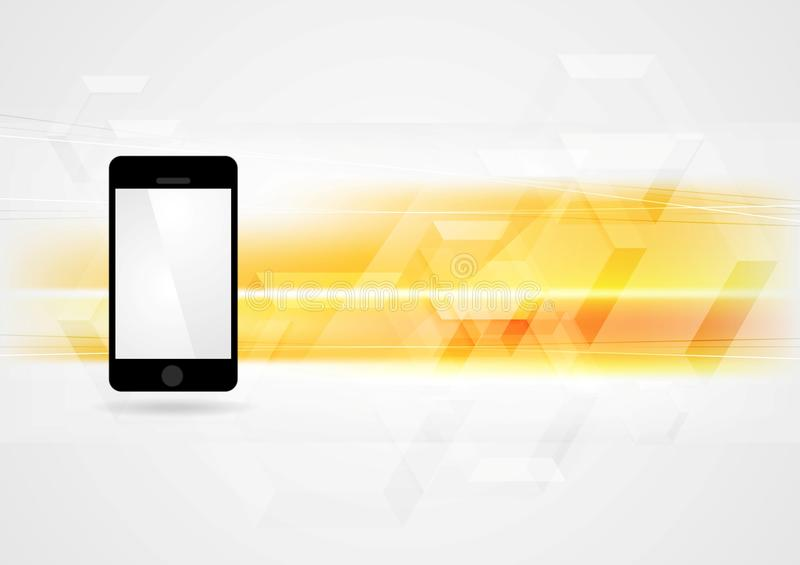 Yellow technology background with smartphone. Vector design royalty free illustration