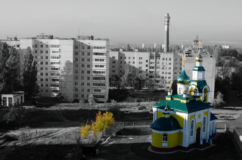 Yellow Temple and gray city background. temple of saint tikhon zadonsky royalty free stock photos
