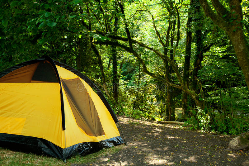 Yellow tent royalty free stock image