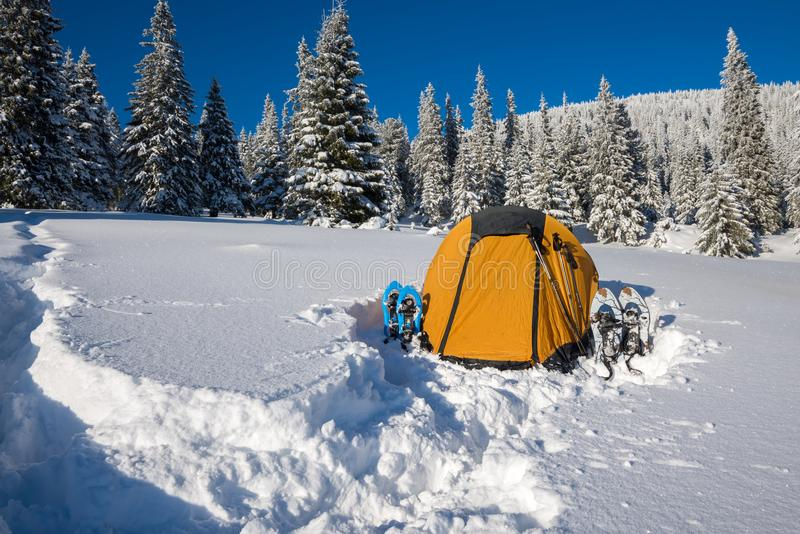 Yellow tent and snowshoes in a deep snow stock photo