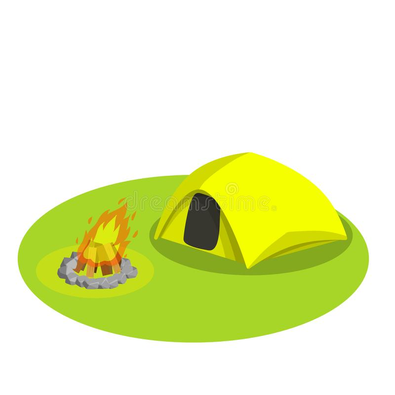 Yellow tent on white background-vector illustration. Tourist camp on the green lawn. Outdoor activities. Expedition to the forest. Fire for cooking. Shelter and vector illustration
