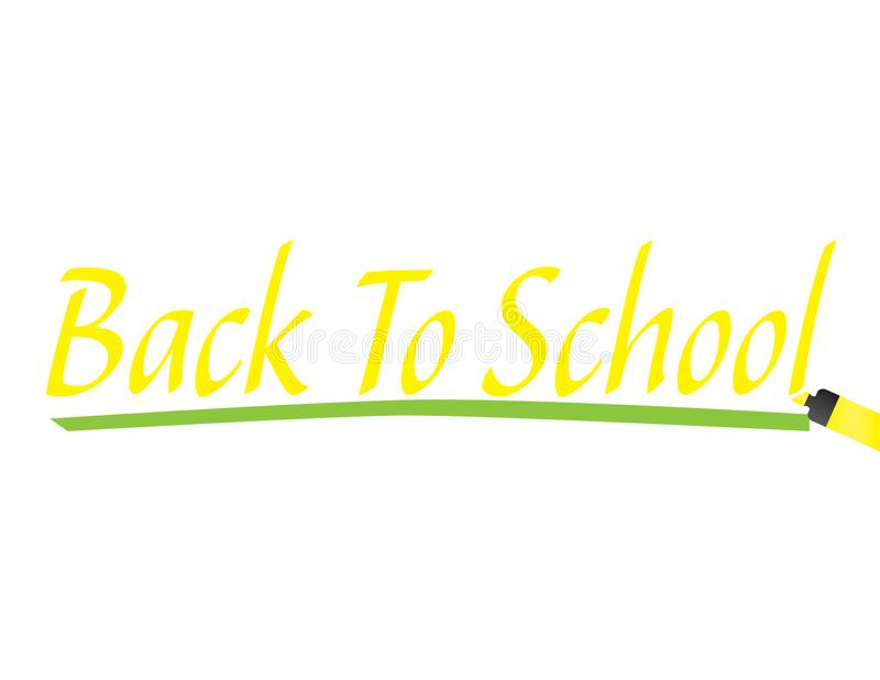 Yellow text Back to school with yellow marker and green underline royalty free illustration