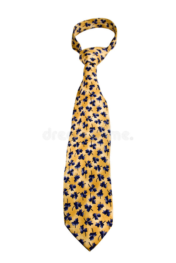Yellow Tie With Blue Flowers stock photos
