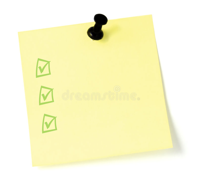 Yellow To-Do List  with pushpin and checkboxes
