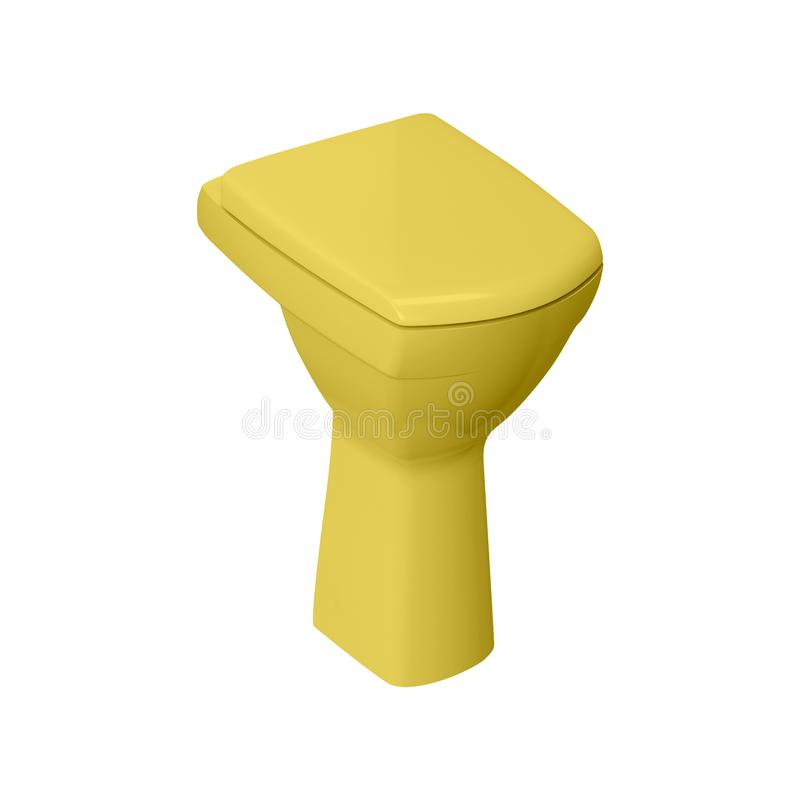 Yellow toilet bowl isolated on white. Background stock photography