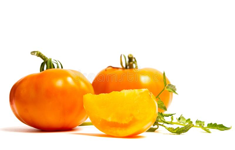 yellow tomatoes isolate on white stock photography
