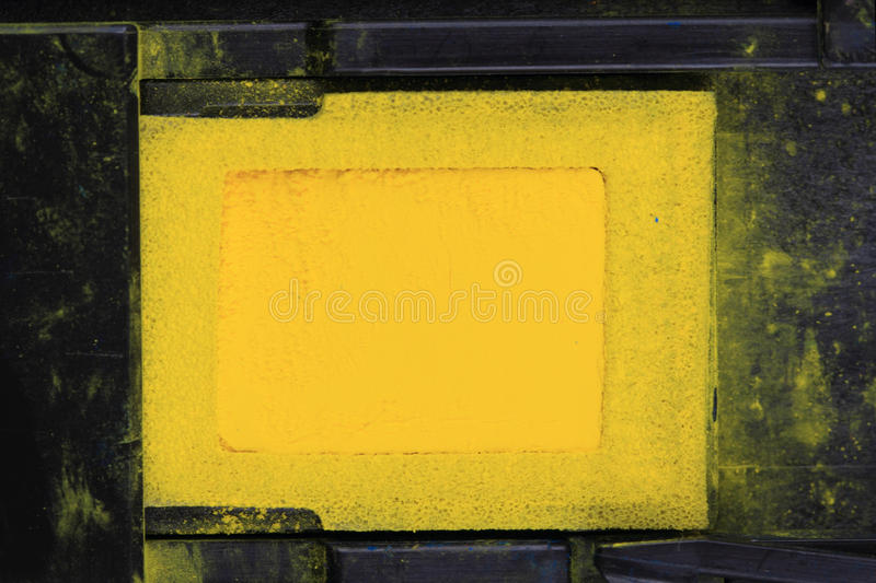 Yellow toner powder. As nice technological background royalty free stock photo