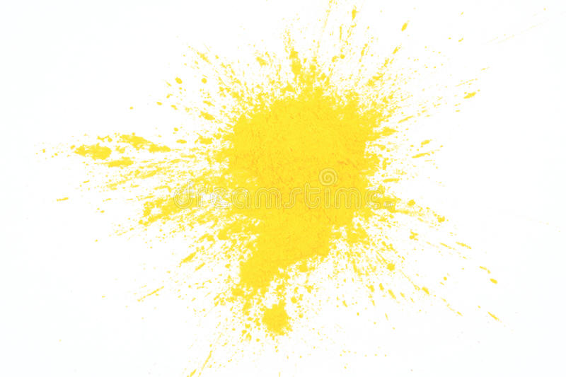 Yellow toner powder. On white background royalty free stock images