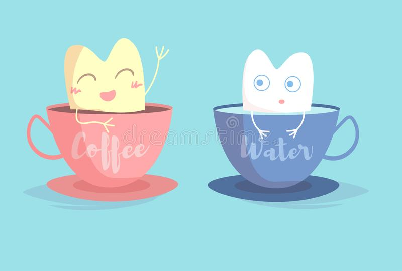 Yellow tooth in Cup of coffee, white tooth in Cup of water Vector. Cartoon. Isolated art stock illustration