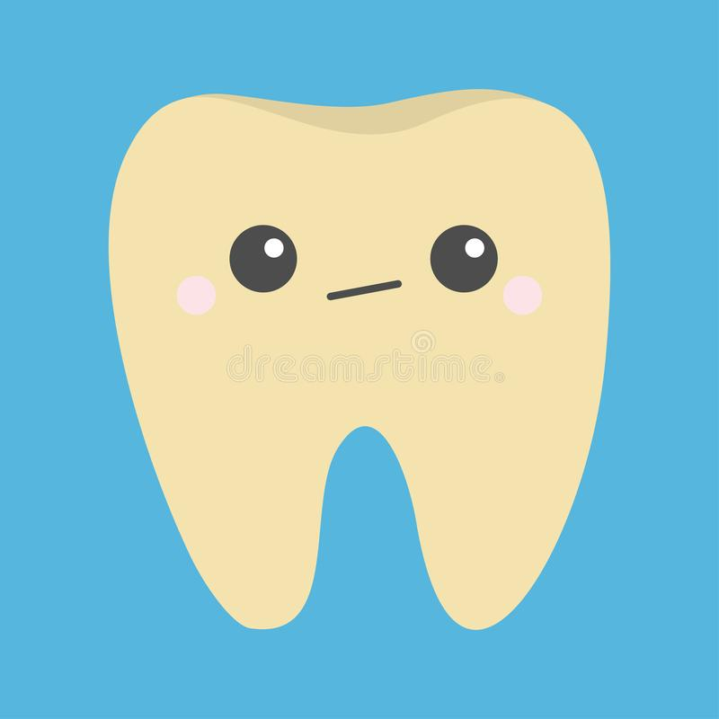 Yellow tooth icon. Unhappy sad face emotion. Crying bad ill teeth with caries. Cute cartoon kawaii funny baby character. Oral. Dental hygiene. Blue background royalty free illustration