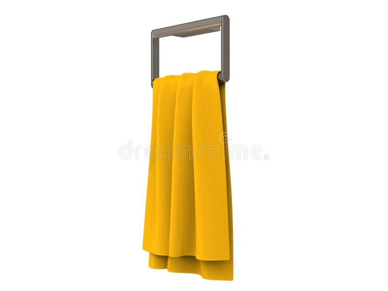 Yellow towel on a towel rack. Isolated on white background stock image