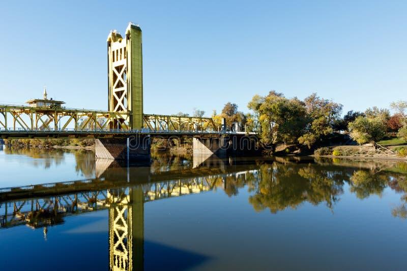 Yellow Tower Bridge across the Sacramento River royalty free stock photo