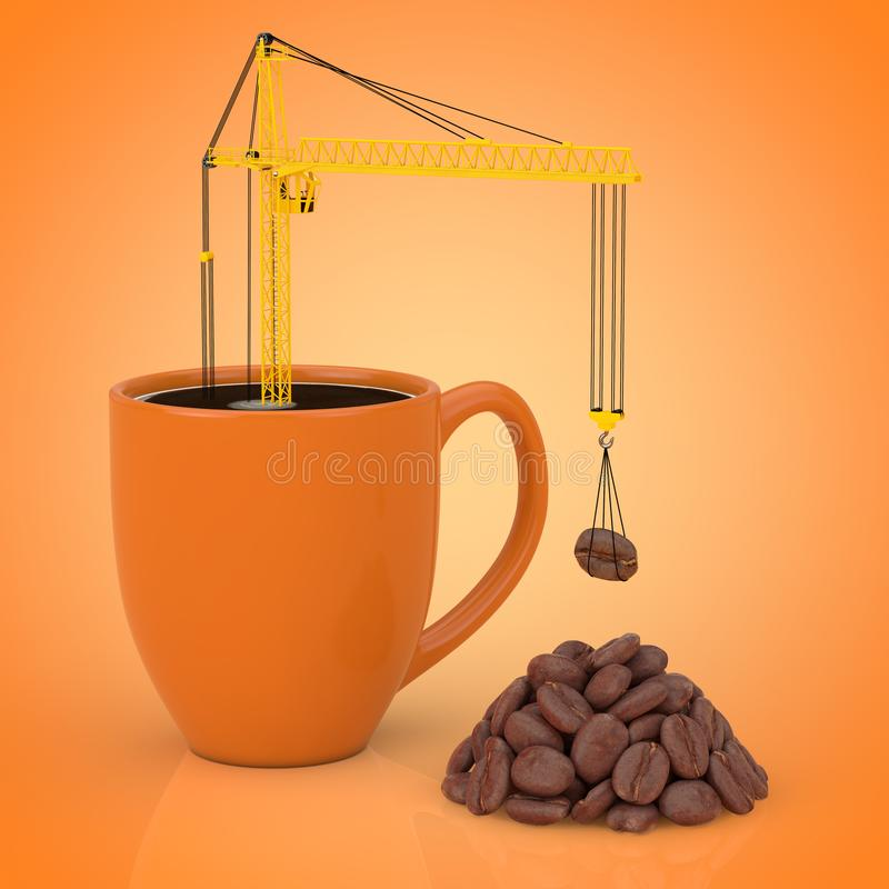 Yellow Tower Crane put Coffee Beans in Coffee Mug. 3d Rendering royalty free illustration