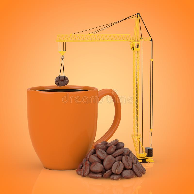 Yellow Tower Crane put Coffee Beans in Coffee Mug. 3d Rendering vector illustration