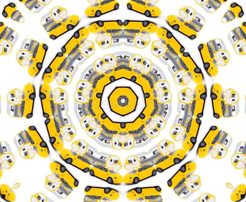 Yellow toy car kaleidoscope stock image