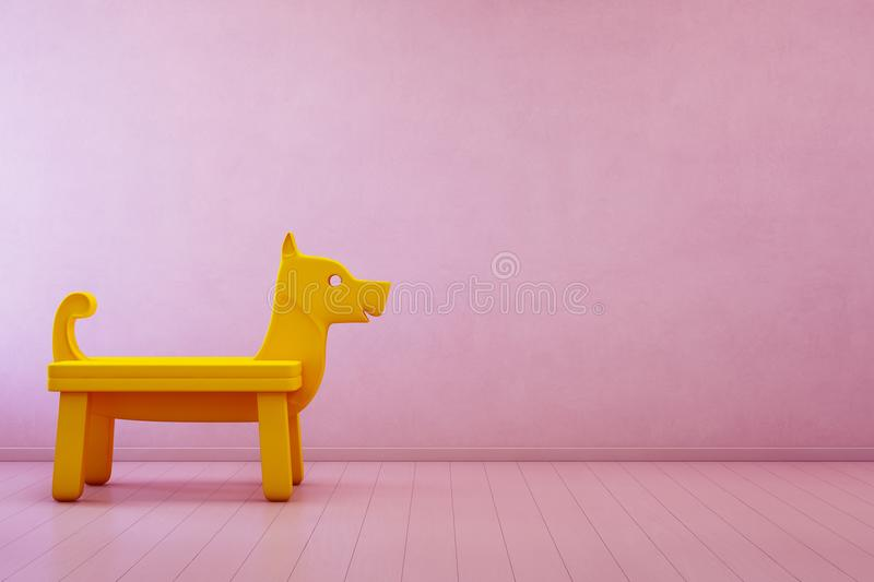 Download Yellow Toy Dog On Wooden Floor In Kids Room Of Modern House With Empty Pink