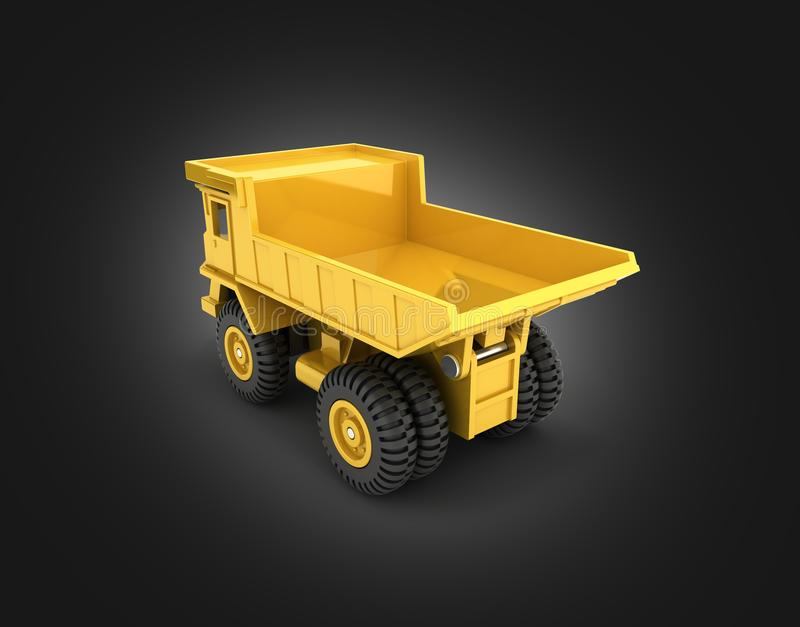 Yellow toy dump truck isolated on black gradient background 3d render vector illustration