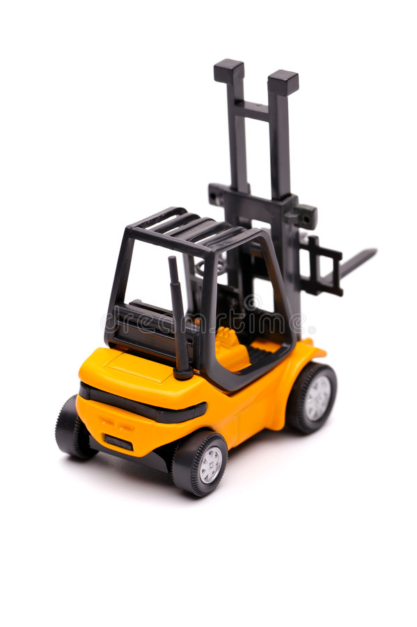 Download Yellow toy forklift stock photo. Image of logistics, loading - 8202618