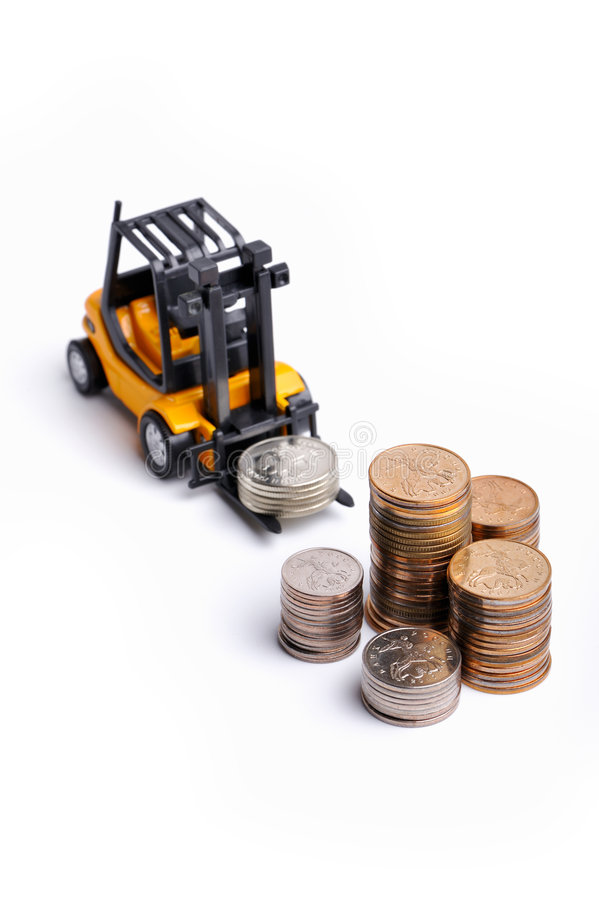 Download Yellow Toy Forklift And Money Stock Image - Image: 8134701