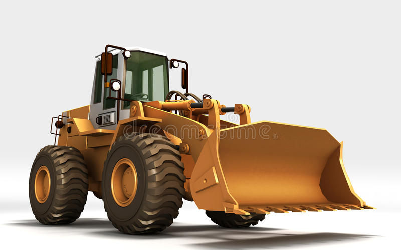 Yellow Tractor. Made in 3D stock illustration