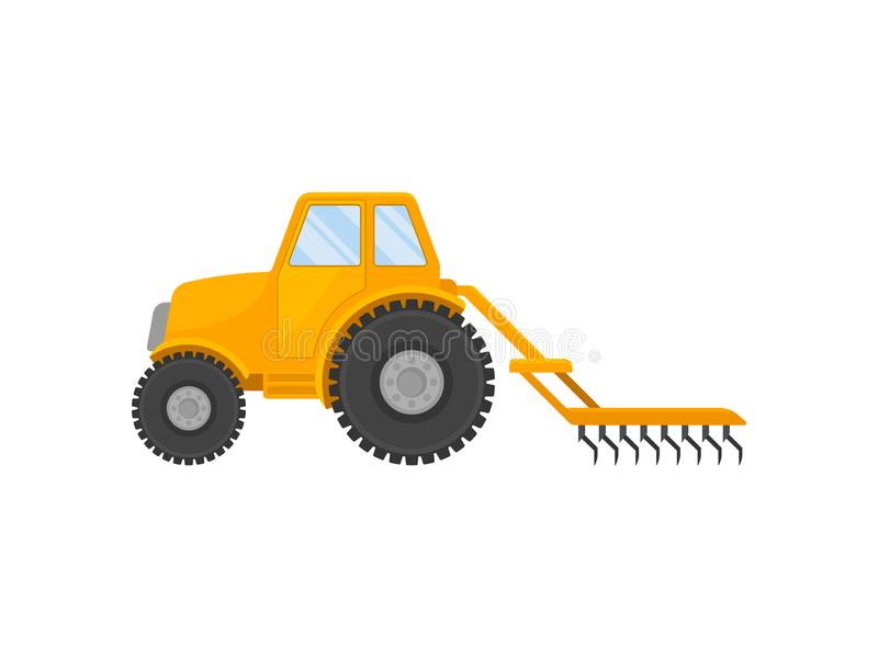 Yellow tractor with a closed cab and a plow. Vector illustration on white background. Yellow tractor with a closed cab and a plow. Side view. Vector vector illustration