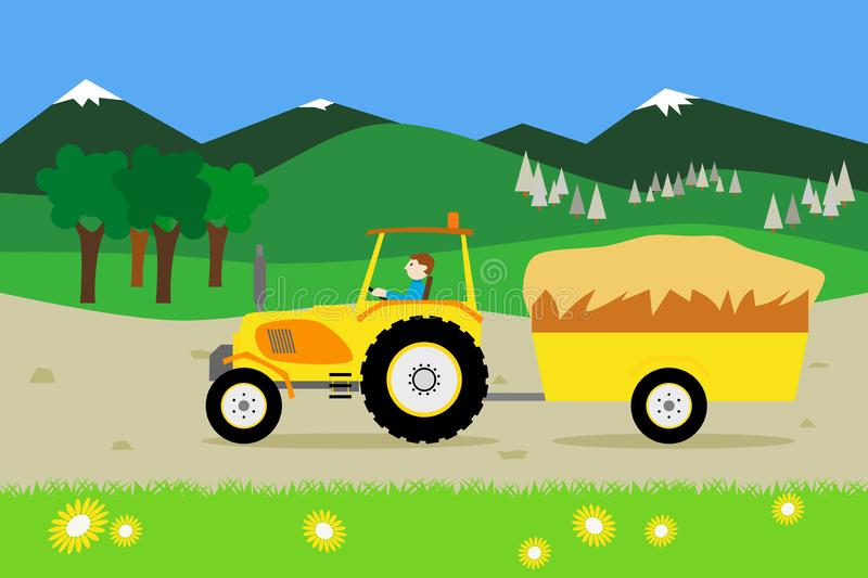 Yellow tractor with a hay trailer. A yellow tractor with a hay trailer vector illustration