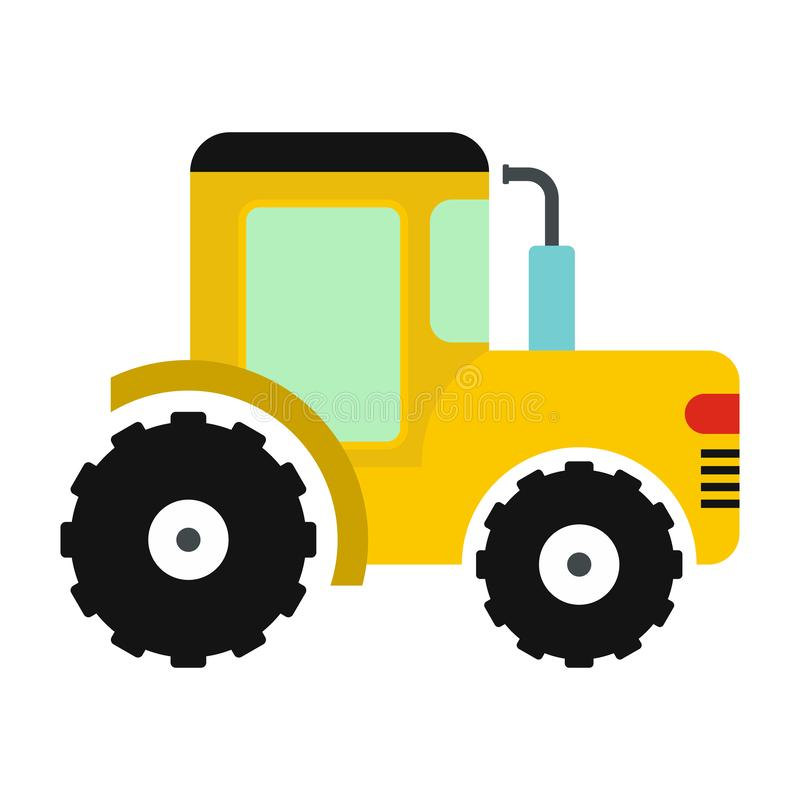 Yellow tractor icon. In flat style isolated on white background royalty free illustration