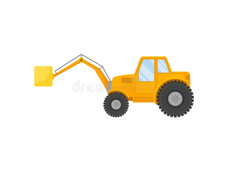 Yellow tractor on big wheels. Vector illustration on white background. Yellow tractor on large wheels with a device for loading. Vector illustration on white royalty free illustration
