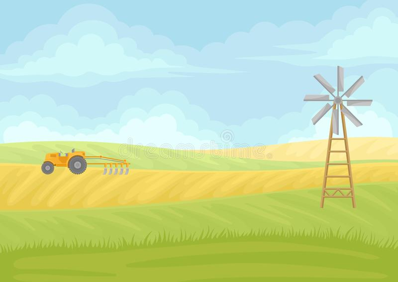 Yellow tractor with plow in the field. Vector illustration on white background. Fan and yellow tractor with plow in the field. Vector illustration on white stock illustration