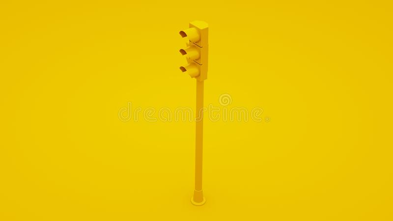 Yellow Traffic Light Signals. 3D illustration vector illustration