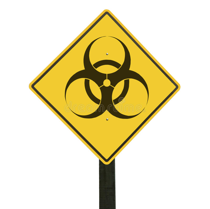Yellow traffic sign with biohazard symbol. stock image