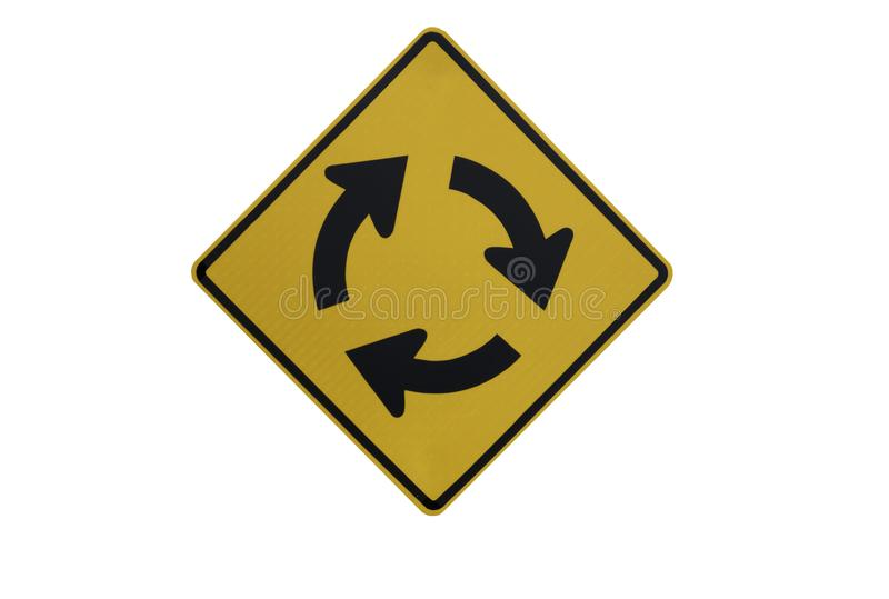 "Yellow Traffic Signs"" right roundabout "" isolated at on white background of file with Clipping Path royalty free stock images"